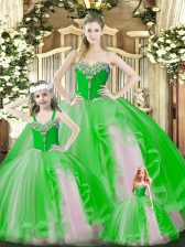 Inexpensive Green Sweetheart Lace Up Beading and Ruffles Quinceanera Gowns Sleeveless