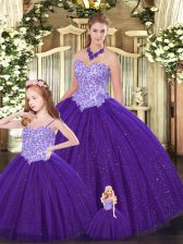 Clearance Purple Ball Gown Prom Dress Military Ball and Sweet 16 and Quinceanera with Beading Sweetheart Sleeveless Lace Up