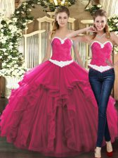 Hot Sale Floor Length Fuchsia Quinceanera Gowns Sweetheart Sleeveless Lace Up