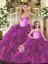 Floor Length Ball Gowns Sleeveless Fuchsia Quinceanera Dress Lace Up