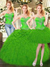 Luxury Floor Length Green Sweet 16 Dresses Sweetheart Sleeveless Lace Up