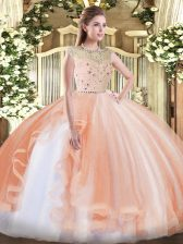 Vintage Bateau Sleeveless Sweet 16 Quinceanera Dress Floor Length Beading and Ruffles Peach Tulle