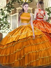 Sleeveless Tulle Floor Length Criss Cross Quinceanera Gown in Orange with Ruffled Layers