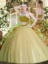 Olive Green Backless Bateau Beading and Ruffles Vestidos de Quinceanera Tulle Sleeveless