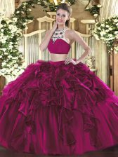 Floor Length Backless Sweet 16 Dress Fuchsia for Military Ball and Sweet 16 and Quinceanera with Beading and Ruffles