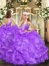 High Class V-neck Sleeveless Organza Custom Made Pageant Dress Beading and Ruffles Lace Up
