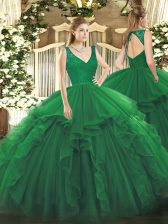 Glamorous Floor Length Zipper Quinceanera Dresses Dark Green for Sweet 16 and Quinceanera with Beading and Ruffles