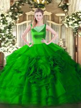 Gorgeous Organza Scoop Sleeveless Zipper Beading and Ruffled Layers 15 Quinceanera Dress in Green