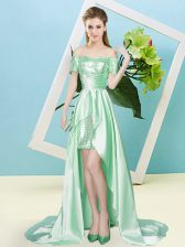 Glamorous Apple Green Short Sleeves Elastic Woven Satin and Sequined Lace Up Evening Dress for Prom and Party