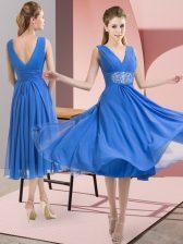 Customized Sleeveless Beading Side Zipper Quinceanera Dama Dress