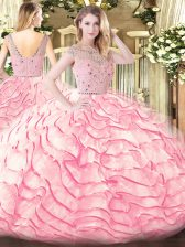 Baby Pink Zipper Quinceanera Gown Beading and Ruffled Layers Sleeveless Sweep Train