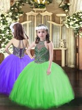 Exquisite Green Halter Top Lace Up Beading Glitz Pageant Dress Sleeveless