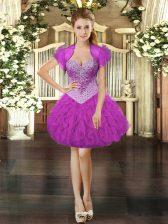 Fuchsia Organza Lace Up Sweetheart Sleeveless Mini Length Evening Dress Beading and Ruffles