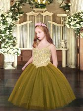 Fashion Spaghetti Straps Sleeveless Tulle Pageant Gowns For Girls Appliques Lace Up