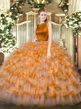 Classical Orange Red Organza Clasp Handle Sweet 16 Quinceanera Dress Sleeveless Floor Length Ruffled Layers