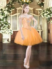 Noble Orange Red Ball Gowns Off The Shoulder Sleeveless Tulle Mini Length Lace Up Beading Homecoming Dress