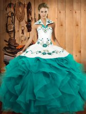 Smart Floor Length Lace Up Quince Ball Gowns Teal for Military Ball and Sweet 16 and Quinceanera with Embroidery and Ruffles