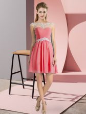 Watermelon Red Empire Beading Dress for Prom Lace Up Chiffon Cap Sleeves Mini Length