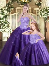 Beauteous Purple Sweetheart Neckline Beading Quinceanera Gowns Sleeveless Lace Up