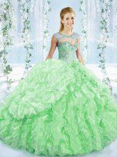 Apple Green Organza Lace Up Sweet 16 Dress Sleeveless Brush Train Beading and Ruching