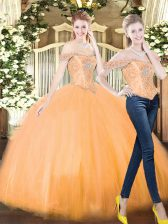 Perfect Sleeveless Organza Floor Length Lace Up Quince Ball Gowns in Orange Red with Beading and Ruffles