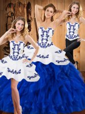 Stunning Blue And White Three Pieces Strapless Sleeveless Satin and Organza Floor Length Lace Up Embroidery and Ruffles Quinceanera Gowns