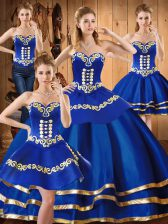 Exquisite Sweetheart Sleeveless Lace Up Sweet 16 Quinceanera Dress Blue Satin and Tulle