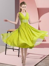 Fancy Sleeveless Side Zipper Knee Length Beading Quinceanera Dama Dress