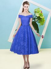 Dramatic Cap Sleeves Tea Length Bowknot Lace Up Quinceanera Court of Honor Dress with Blue