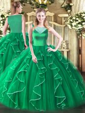On Sale Turquoise Scoop Side Zipper Beading and Ruffles Sweet 16 Dresses Sleeveless