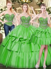 Three Pieces 15 Quinceanera Dress Green Sweetheart Organza Sleeveless Floor Length Lace Up