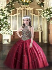 Wine Red Tulle Lace Up Halter Top Sleeveless Floor Length Pageant Gowns For Girls Beading
