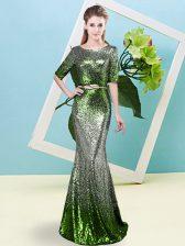 Unique Multi-color Mermaid Sequined Scoop Half Sleeves Sequins and Belt Floor Length Zipper Evening Dress