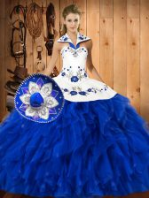 Affordable Blue And White Halter Top Neckline Embroidery and Ruffles Quinceanera Gown Sleeveless Lace Up