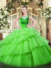 Best Sleeveless Floor Length Beading and Pick Ups Side Zipper Sweet 16 Dress