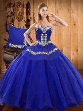 Blue Sweetheart Lace Up Ruffles Vestidos de Quinceanera Sleeveless