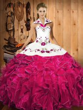 Glamorous Satin and Organza Sleeveless Floor Length Quince Ball Gowns and Embroidery and Ruffles
