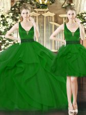 Dynamic Sleeveless Beading and Ruffles Lace Up Quinceanera Dresses