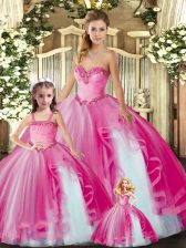 Hot Pink Organza Lace Up Sweetheart Sleeveless Floor Length Quinceanera Dress Beading and Ruffles