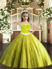 Modern Sleeveless Appliques Lace Up Little Girl Pageant Gowns