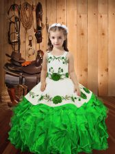 Straps Sleeveless Little Girl Pageant Gowns Floor Length Embroidery and Ruffles Green Organza