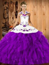 Clearance Floor Length Lace Up Quinceanera Gown Eggplant Purple for Military Ball and Sweet 16 and Quinceanera with Embroidery and Ruffles