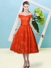 Modern Tea Length Lace Up Vestidos de Damas Rust Red for Prom and Party and Wedding Party with Bowknot