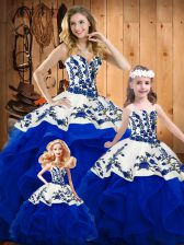 Ball Gowns Quinceanera Dresses Royal Blue Sweetheart Organza Sleeveless Floor Length Lace Up