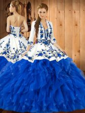 New Style Blue Satin and Organza Lace Up Sweetheart Sleeveless Floor Length Vestidos de Quinceanera Embroidery and Ruffles