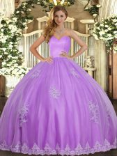 Artistic Lavender Tulle Lace Up Sweetheart Sleeveless Floor Length Sweet 16 Quinceanera Dress Beading and Appliques