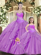 Exquisite Lilac Sleeveless Floor Length Beading and Ruching Lace Up Sweet 16 Dress