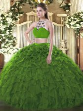 Delicate Dark Green Two Pieces Tulle High-neck Sleeveless Beading and Ruffles Floor Length Backless 15 Quinceanera Dress