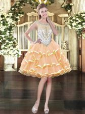 Custom Designed Mini Length Zipper Prom Party Dress Peach for Prom and Party with Beading and Ruffled Layers