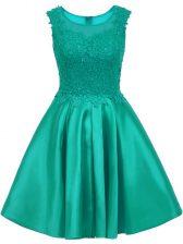 Adorable Turquoise Satin Zipper Scoop Sleeveless Mini Length Vestidos de Damas Lace